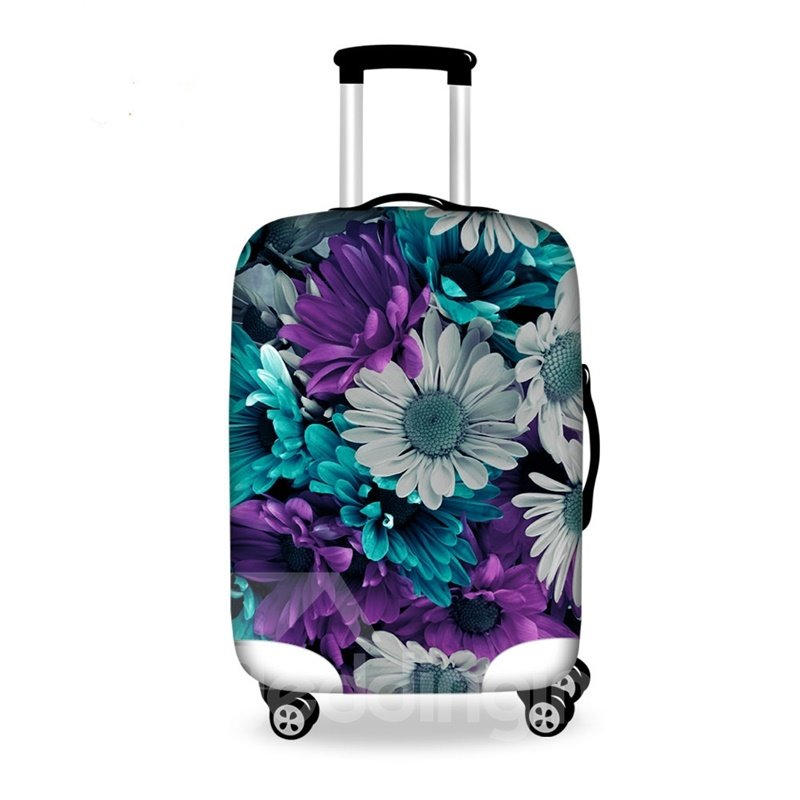 Multicolor Flowers Pattern 3D Painted Luggage Cover