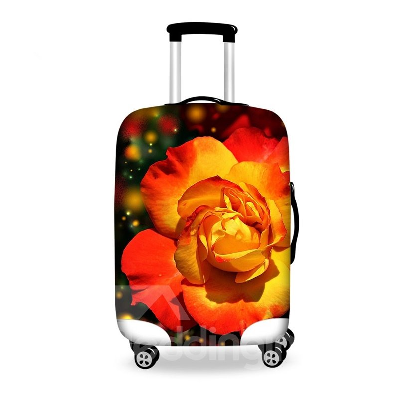 Beautiful Orange Flower Pattern 3D Painted Luggage Cover