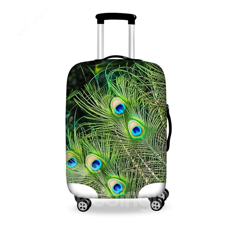Vivid Peacock Feathers Pattern 3D Painted Luggage Cover
