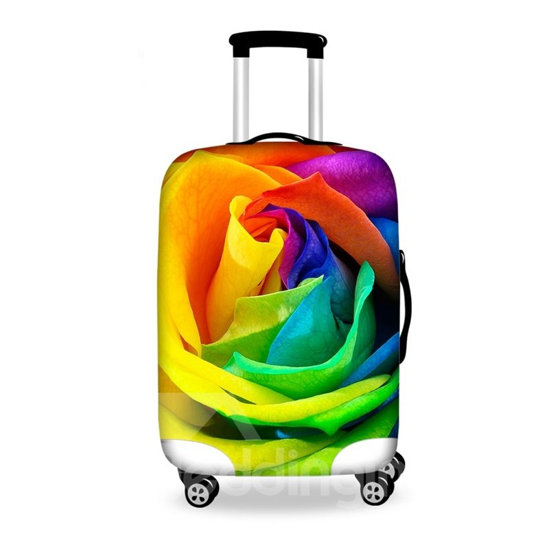 Pretty Multicolor Rose Pattern 3D Painted Luggage Cover