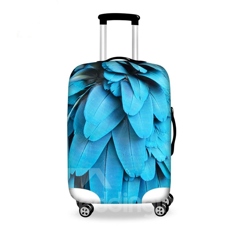 Fabulous Blue Feather Pattern 3D Painted Luggage Cover