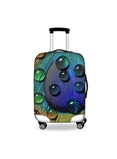 Vivid Dewdrop in Feather Pattern 3D Painted Luggage Cover