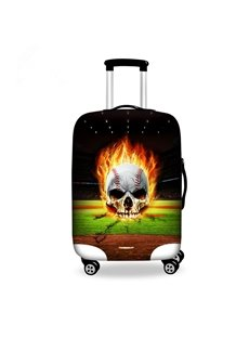 Cool Fire Baseball Skull Pattern 3D Painted Luggage Cover