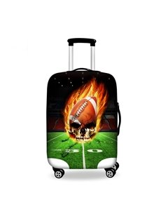 Cool Fire Rugby Skull Pattern 3D Painted Luggage Cover