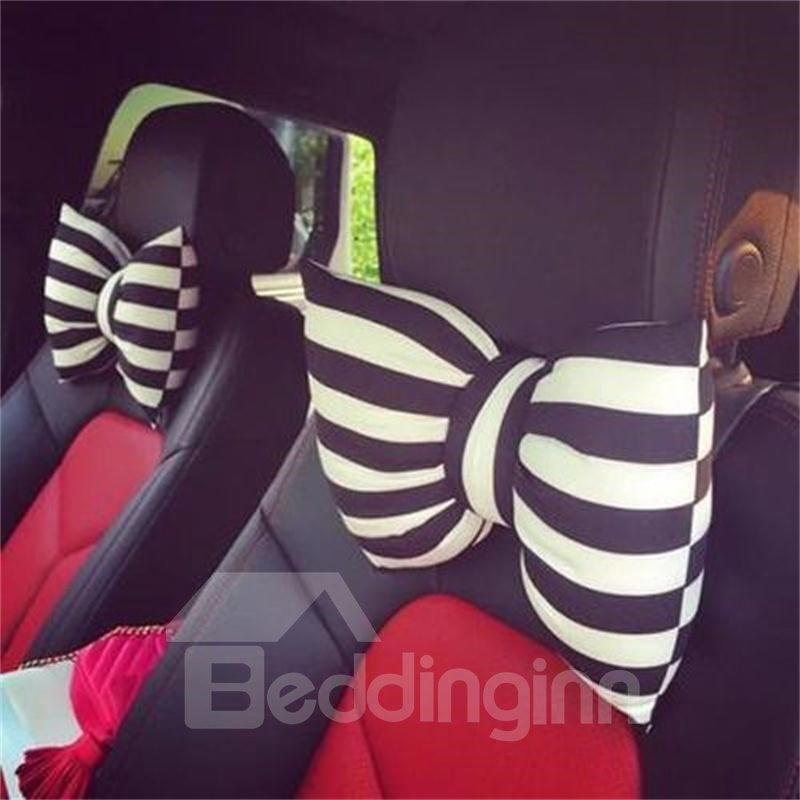 Beautiful Black And White Stripes Bow Design 1-Piece Single Car Headrest Pillow