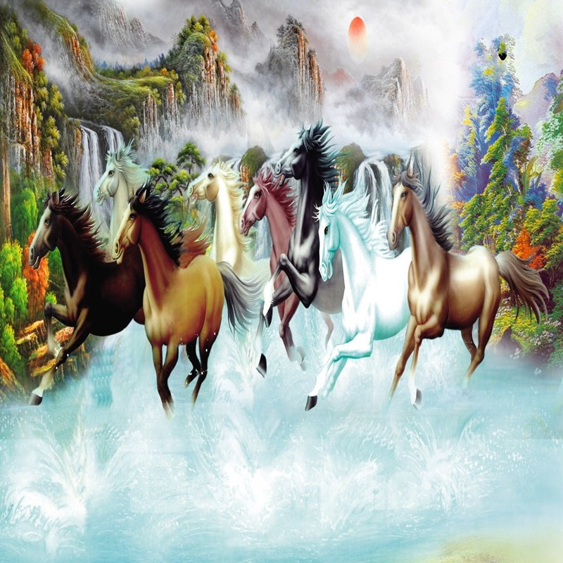 Fancy Beautiful Natural Scenery and Horses Pattern Waterproof 3D Wall Murals