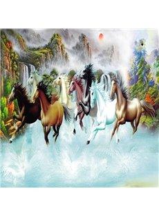 Fancy Beautiful Natural Scenery and Horses Pattern Waterproof 3D Wall Murals