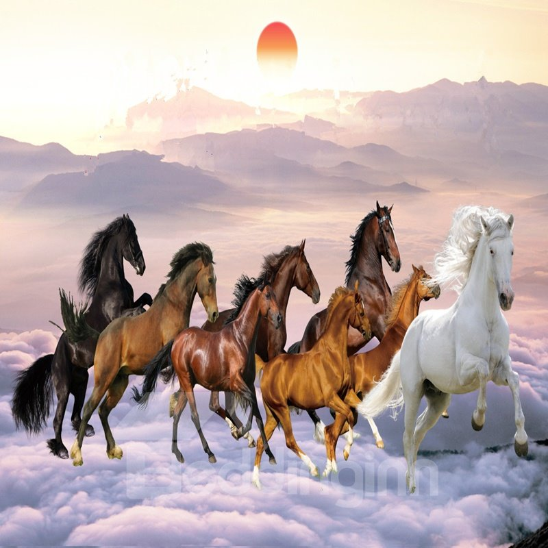 Fabulous Creative Design Horses Pattern Waterproof 3D Wall Murals