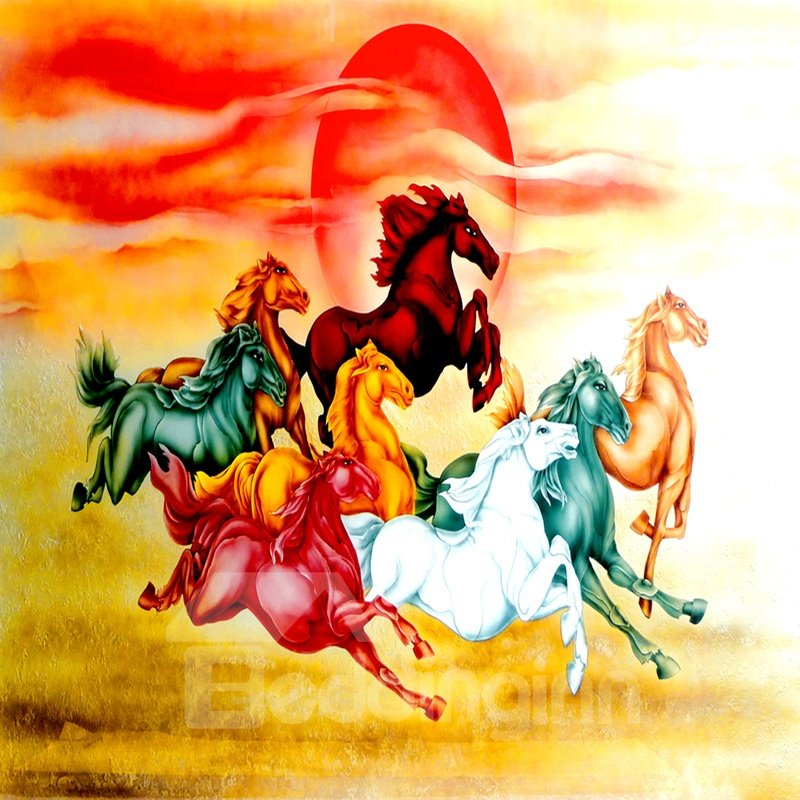3D Colorful Running Horses Pattern PVC Waterproof Sturdy Self-Adhesive Wall Murals