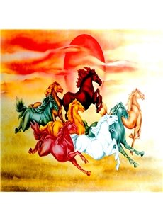 Charming Colorful Running Horses Pattern Waterproof 3D Wall Murals