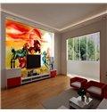 3D Colorful Running Horses Pattern PVC Waterproof Sturdy Self-Adhesive Wall Murals