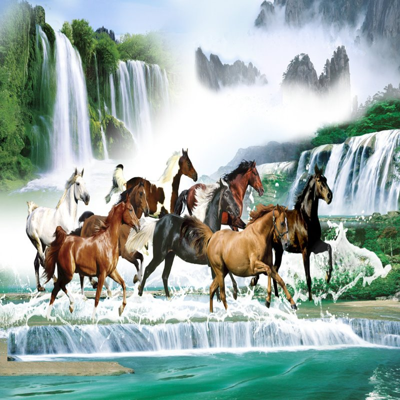 Super Cool Natural Scenery and Horses Pattern Waterproof 3D Wall Murals