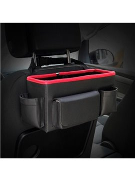 Hanging Style Classic Black High Capacity Durable PU Material Car Backseat Organizer
