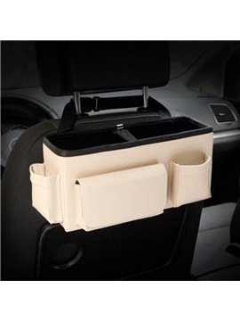 Hanging Style Solid Beige High Capacity Durable PU Material Car Backseat Organizer
