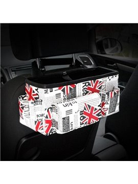 Fashion Union Jack Design High Capacity Durable PU Material Car Backseat Organizer