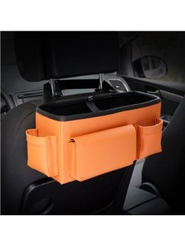 Bright Orange Color High Capacity Durable PU Material Car Backseat Organizer
