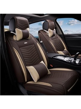Classic Business Design 3D Stereoscopic Type Durable PU Leather Material High-Grade Universal Five Car Seat Cover
