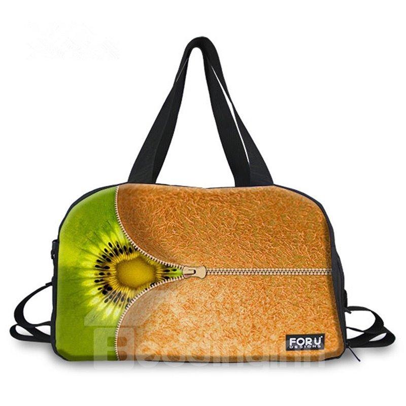Zipper Kiwi Fruit Pattern 3D Painted Travel Bag