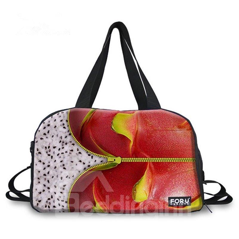 Special Zipper Pitaya Pattern 3D Painted Travel Bag