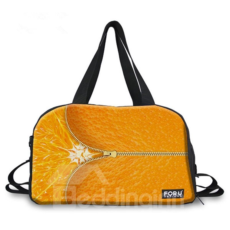 Zipper Orange Pattern 3D Painted Travel Bag