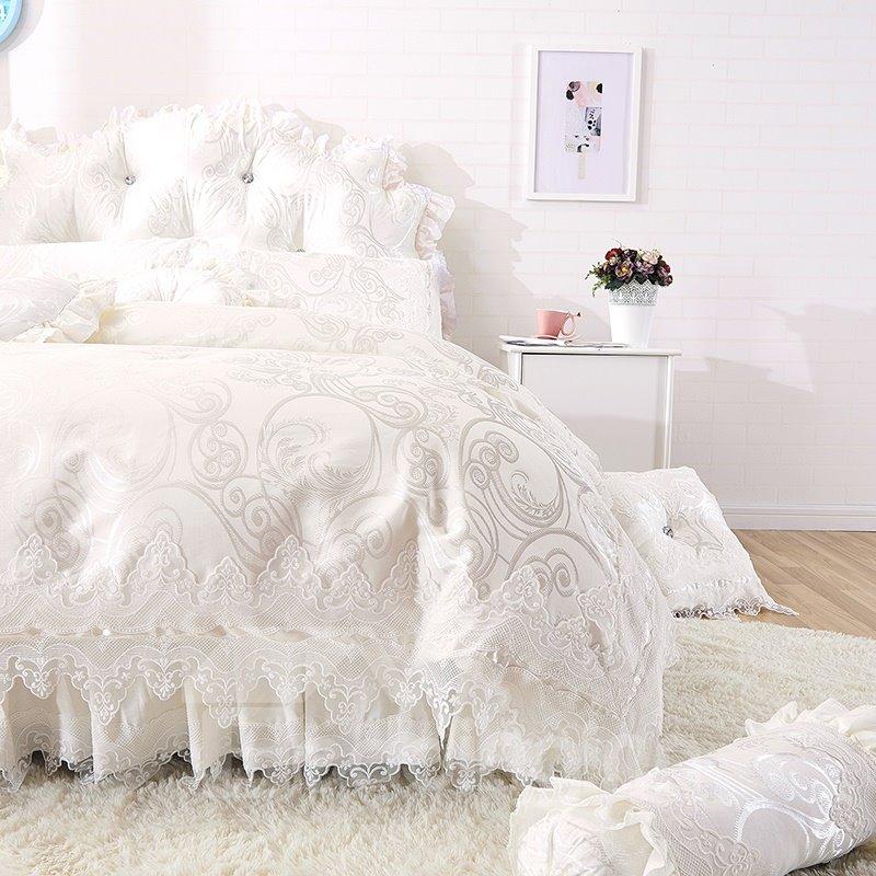 Dreamy White Lace Edging Princess 4 Piece Cotton Bedding Pic