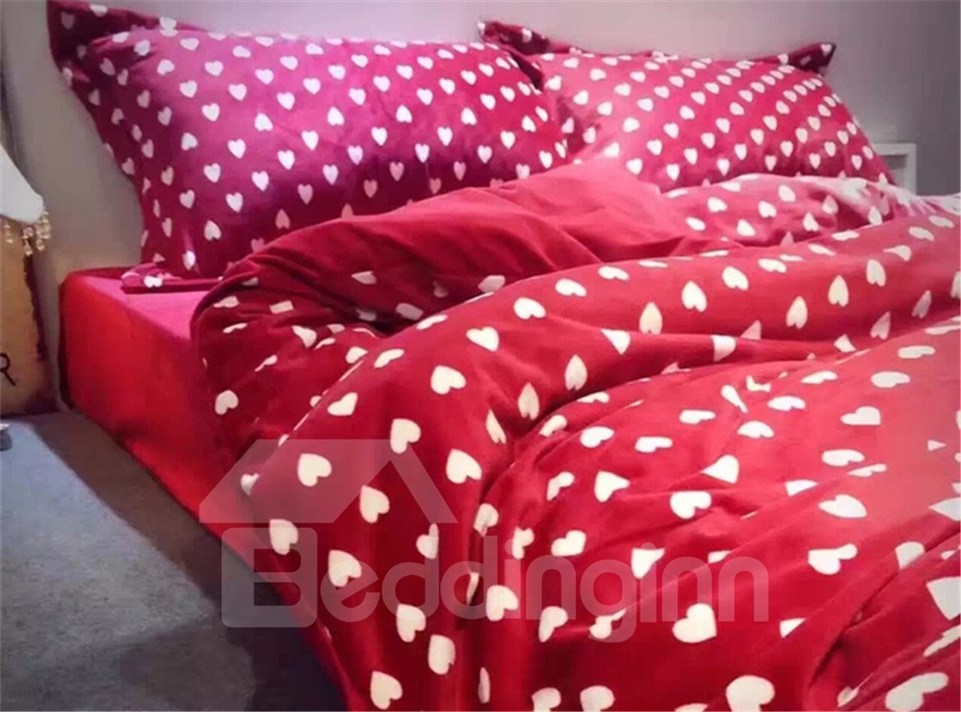 Super Soft Hearts Pattern Red Backgroud Flannel 4-Piece Duvet Cover Sets