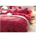 Super Soft Hearts Pattern Red Backgroud Flannel 4-Piece Duvet Cover Sets