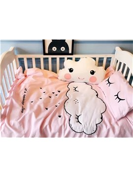 Cute Cartoon Clouds Pattern Cotton 4-Piece Duvet Cover Sets