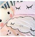 Cute Cartoon Clouds Pattern Cotton 4-Piece Duvet Cover Sets
