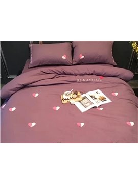 Amazing Hearts Pattern Cotton 4-Piece Duvet Cover Sets