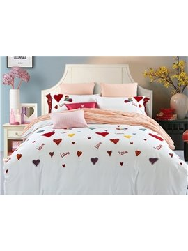 Valentine Style Colorful Hearts Pattern Cotton 4-Piece Duvet Cover Sets