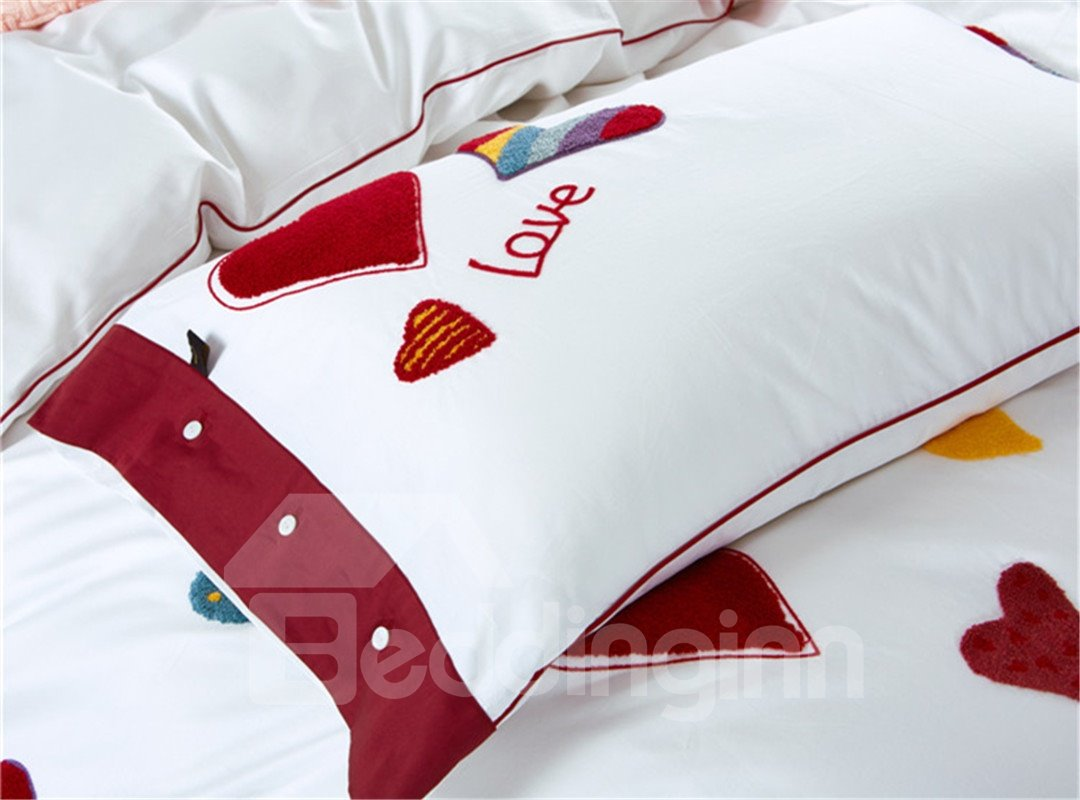 Valentine Style Colorful Hearts Pattern Cotton 4-Piece Duvet Cover Sets