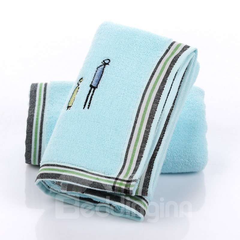 Cute Stick Figures Embroidery Thicken Soft Cotton Face & Hand Towel