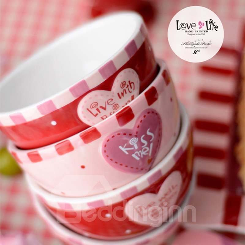 Pink and Red Ceramic Creative Heart Pattern Fashion Bowls Painted Pottery