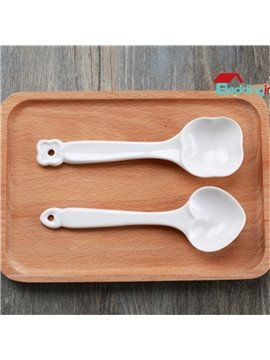 White Ceramic Cute Heart-shaped Design 2 Pieces Spoons Painted Pottery