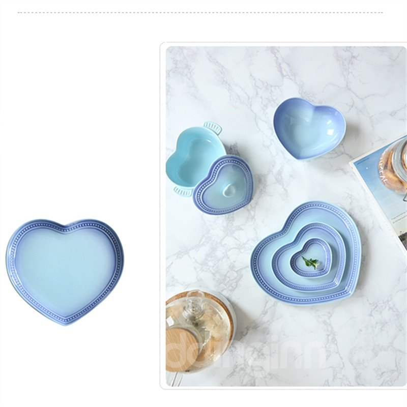 Fabulous Ceramic Heart-shaped Pure Color 1 Piece Saucer Painted Pottery