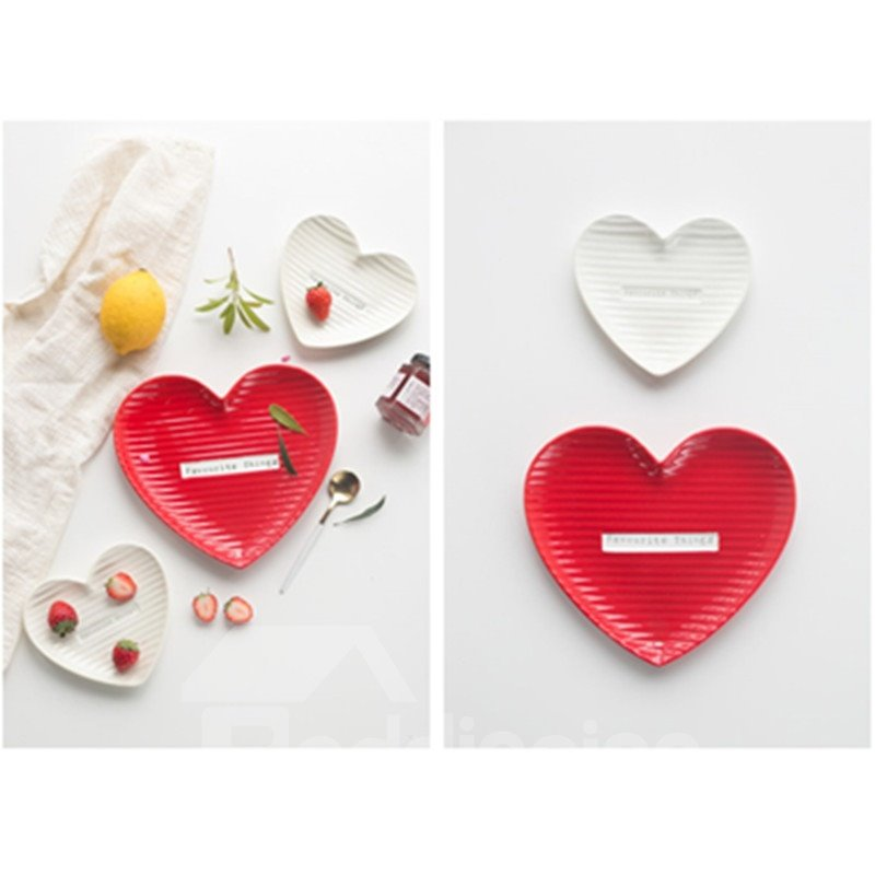 White and Red Ceramic Creative Heart-shaped Saucer Painted Pottery