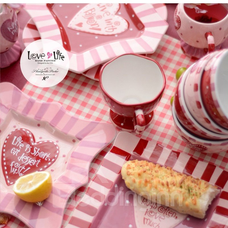 Handmade Ceramic Heart-shaped Pattern Square Cake Saucer Painted Pottery