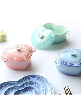 Pure Color Ceramic Heart-shaped Soup and Salad Bowl Painted Pottery