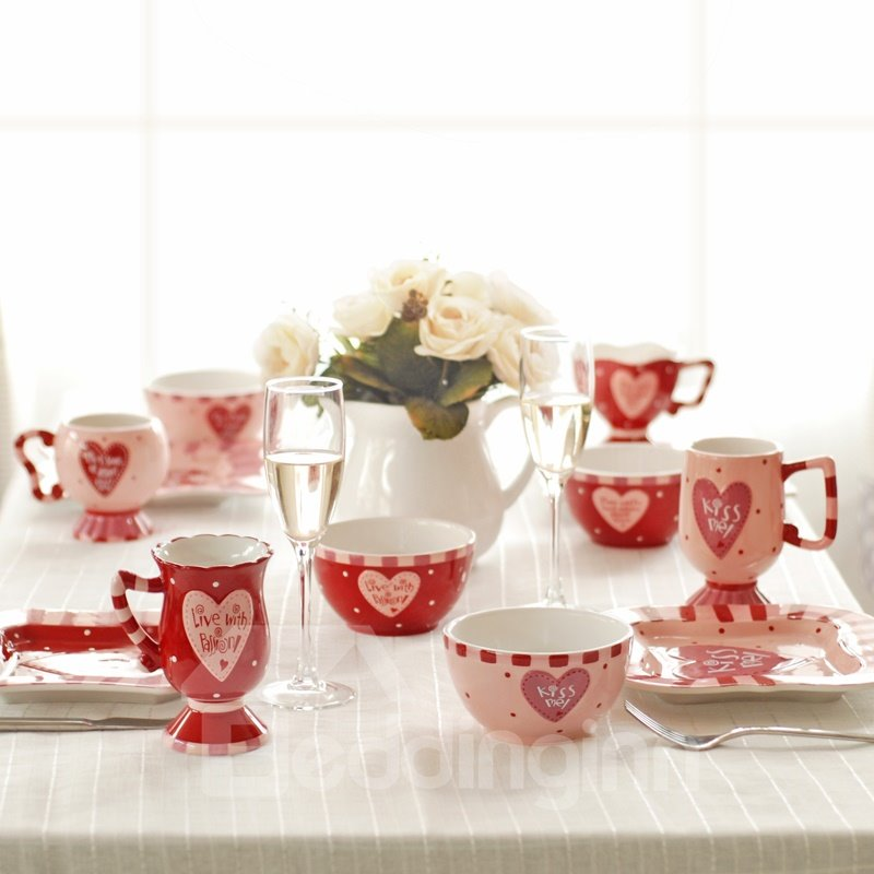 Lovely Ceramic European Style Red and Pink Romantic Couples Coffee Mugs