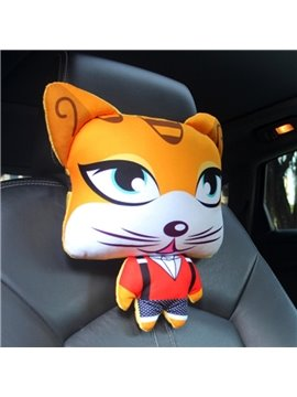 Bright Yellow Cool Cartoon Cat Big Eyes Lovely Creative Car Pillow