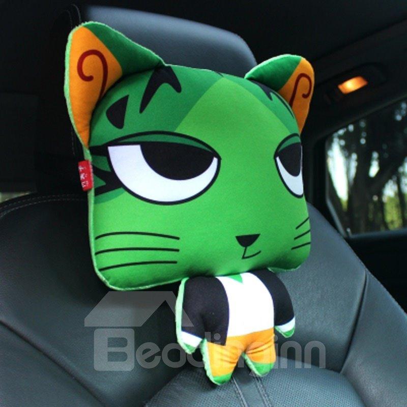Bright Green Cool Cartoon Cat Big Eyes Lovely Creative Car Pillow