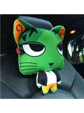 Bright Green Cool Cartoon Cat Big Eyes Lovely Creative Car Pillow