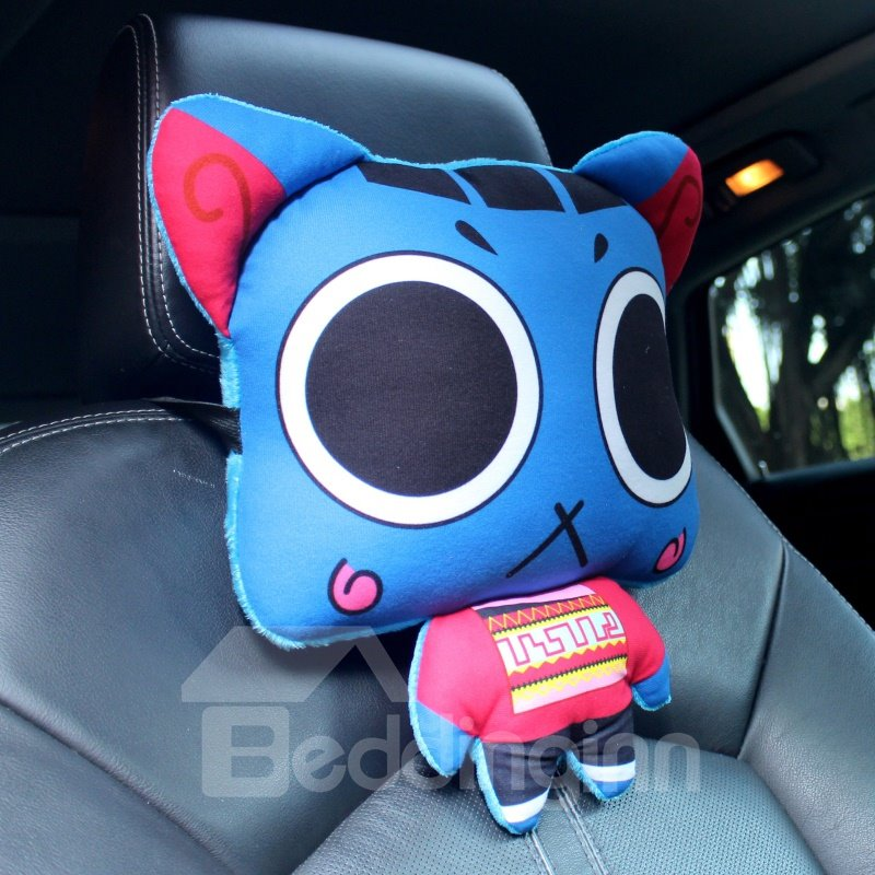 Blue Cool Cartoon Cat Big Eyes Lovely Creative Car Pillow