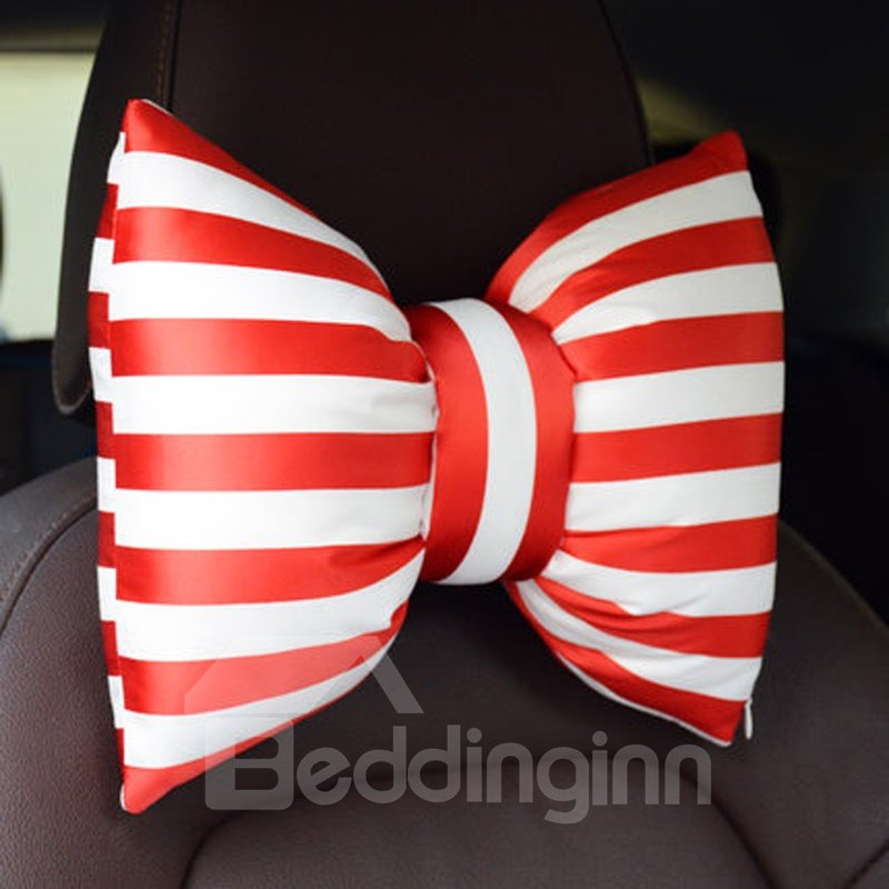 Fashion Color Strip Design Bow Style Single 1-Piece Headrest Pillow