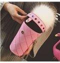 Cute Cup Shape Pompon Design Hand Bag