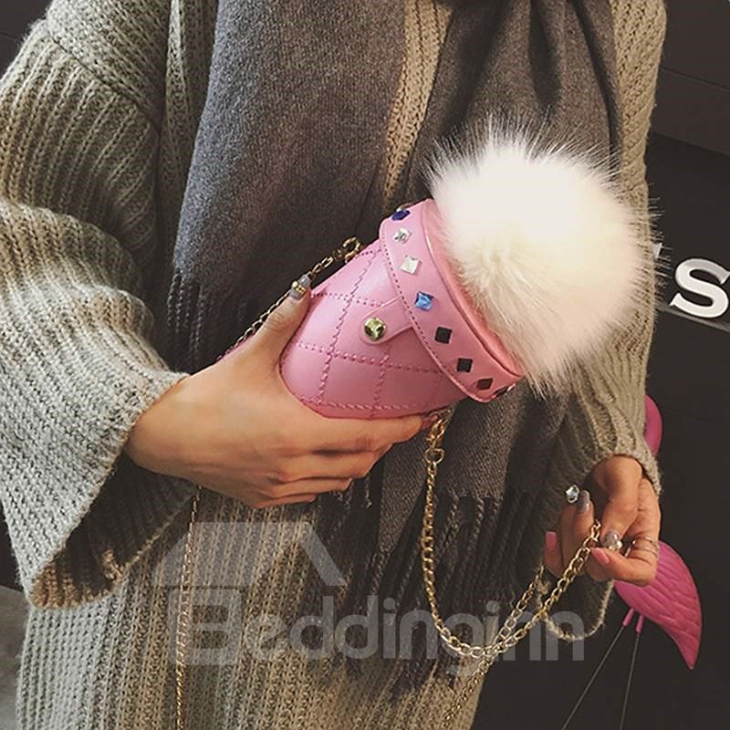 Cute Cup Shape Pompon Design Hand Bag
