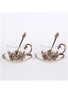 Creative European Style Artificial Crystal Decoration Design Coffee Mug Sets