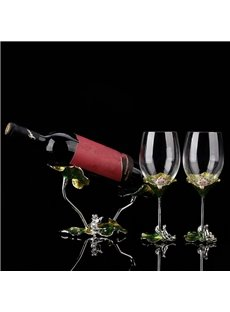 Green Natural Color Enamel Design Lotus Leaves Decoration Wine Rack