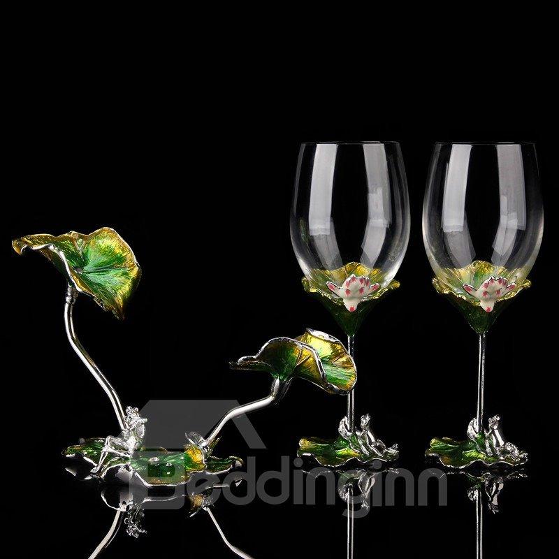 Green Natural Color Enamel Design Lotus Leaves Decoration Wine Rack